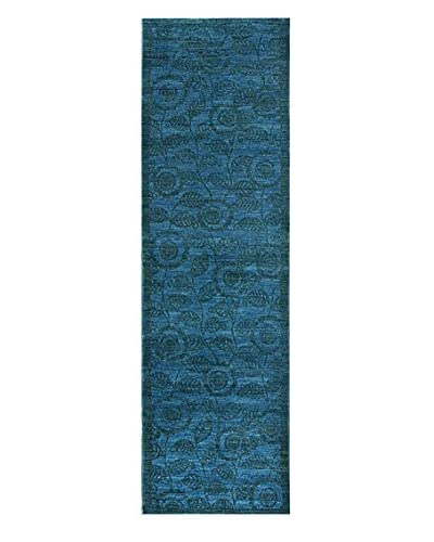 nuLOOM One-of-a-Kind Hand-Knotted Overdyed Rug, Blue, 3' x 10' 2""