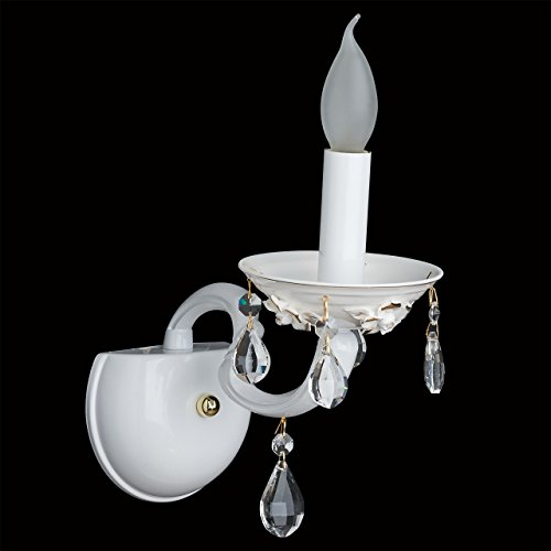 applique mural bougie style classique antique raffiné support en métal coloré blanc décoré en cristal, applique salon ou chambre ampoule non-incl 1 x 60W E14 230 V