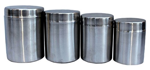 4-Piece Stainless Steel Sober Storage Canisters Set