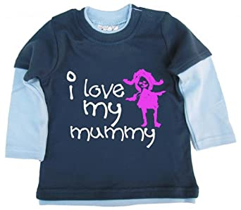 Dirty Fingers, I love my Mummy, Baby Skater Top, Dusty & Pale Blue, 3/6m