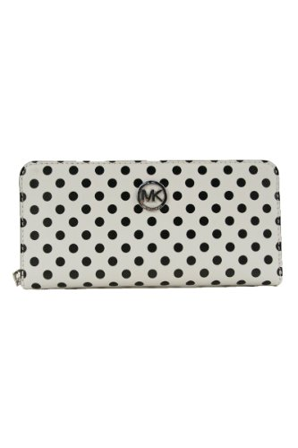 Michael Kors Jet Set Travel Dotted Zip-Around Continental Wallet Wht/Blk