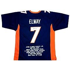 John Elway Autographed Signed Denver Broncos Custom Navy Blue NFL Jersey with Career...