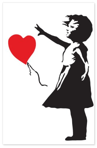 The Binary Box Small Banksy Balloon Girl Wall Stickers, Multi-Colour