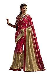 Fashionate Art Silk Red Embroidery Saree