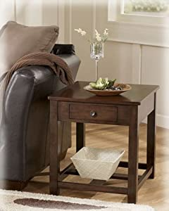 Signature Design by Ashley Contemporary Dark Brown End Table