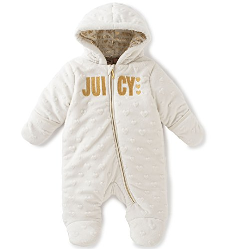 juicy-couture-baby-girls-embossed-silky-sherpa-hooded-pram-gold-3-6-months