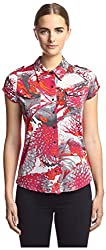 Vertigo Women's Printed Button Front Top, Burn Out Floral, S