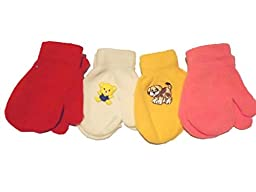 Set of Four Pairs of Magic Stress Mittens for Infants Ages 0-12 Months