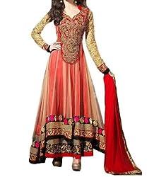 SalwarSaloon Women's Georgette Long Anarkali Unstitched Salwar Suit Dress Material(Orange_net_SS_Orange)