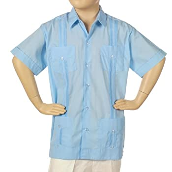 Guayabera for boys poly-cotton short sleeve