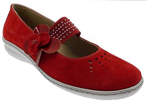 art 08810 ballerina paperina laccetto rosso camoscio fiore 38 rosso