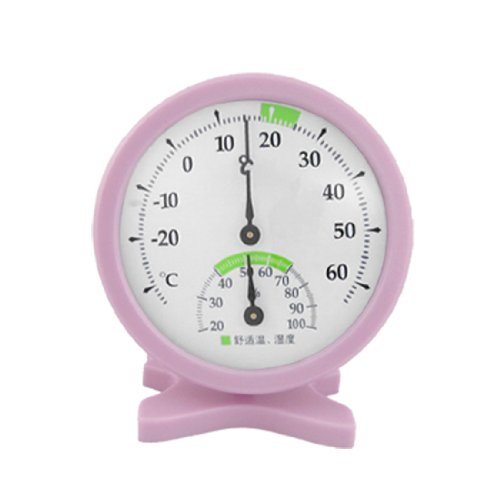 Indoor Tabletop Pink Plastic Thermometer Hygrometer