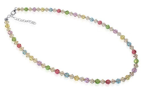 Sterling Silver Multicolor Crystal Necklace 16 inch Made with Swarovski Elements