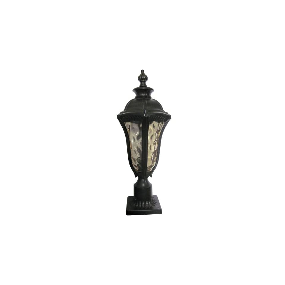 Yosemite Home Decor 326MPIWB Straford 1 Light Outdoor Post Light with Water Glass Shade, Medium