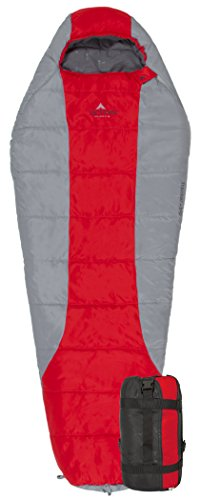 TETON Sports Tracker +5F Ultralight Sleeping Bag Perfect for Backpacking, Hiking, and Camping; Red/Grey (Micro Sleeping Bag compare prices)