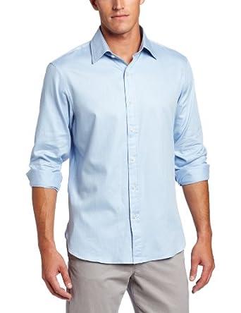 Michael Kors Men's Satin Stripe CEO Shirt, Light Sky, Medium