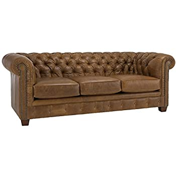 Metro Shop Hancock Tufted Distressed Saddle Brown Italian Leather Sofa