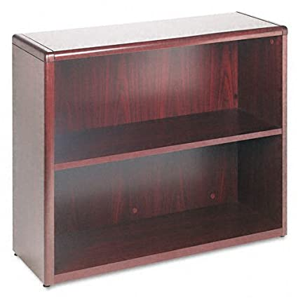 HON 10700 Series Bookcase, 2 Shelves, 36 W by 13-1/8 D by 29-5/8 H, Mahogany
