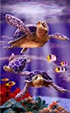 Underwater Sea Turtle Print Cotton Beach Bath Towel