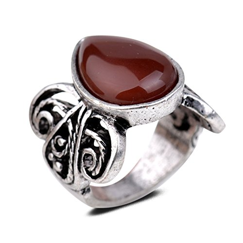 Yazilind Vintage Antique Pear Cut Red Jade Retro Silver Plated 8 Ring Women