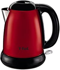 T-fal KI160US 1500-Watt Brushed Stainless Steel Electric Kettle with Removable Limescale, 1.7-Liter, Red