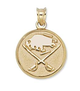 "Buffalo Sabres Buffalo and Crossed Swords 3/8"" Round Logo Pendant - 10KT Gold Jewelry"