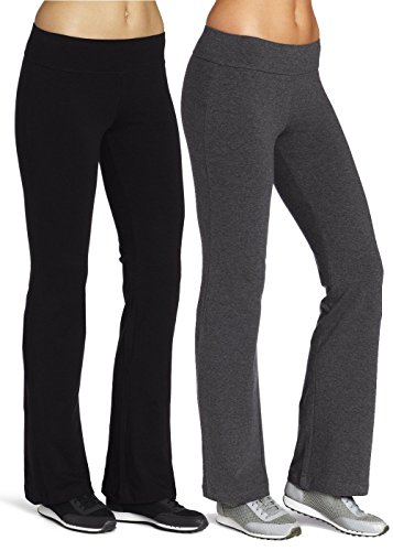 Mirity Boot-Leg Yoga Pants - Active Leggings Pant for Women Color Black Grey Pack Of 2 Size L