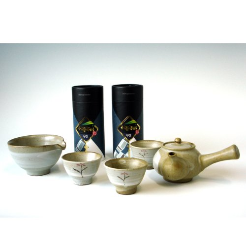 Korean Ujeon Organic Premium Top Grade Mountain Loose Leaf Green Ceramic Pottery Complete Tea Pot Cup Bowl Gift Set
