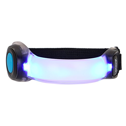 ARINO LED Running Gear Armband Wristbands Armband Belt Glow in dark Safety Slap Band for Cycling, Running, Jogging High Visibility (Blue)