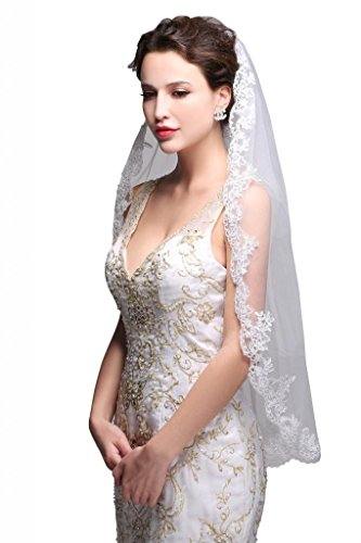 GEORGE BRIDE Simple Elegent Lace Appliques Wedding Veil One Size Ivory