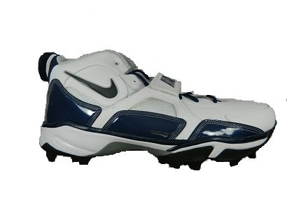 Nike Zoom Code Pro Shark Men's Molded Football Cleats (White/Navy) (12 WIDE)
