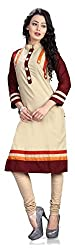 SayShopp Fashion New Arrived Pure Cotton Kurti (K-05_Cream_Free Size)