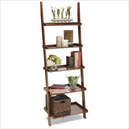 Convenience Concepts American Heritage 5-Shelf Ladder Bookcase, Cherry