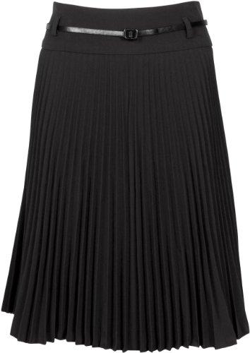 FV3543 Knee Length Pleated A-Line Skirt with Skinny Belt - Black Short / L