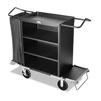 Rubbermaid Commercial FG9T6300BLA Executive Series Deluxe 3-Shelf High-Capacity Housekeeping Cart, Black