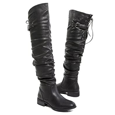Nature Breeze Womens OLYMPIA01 Closed Round Toe Military Riding Slouch Tie Up Buckle Strap Over The Knee Thigh High Med Low Flat Boot Shoes, Black PU Leather, 6 B (M) US