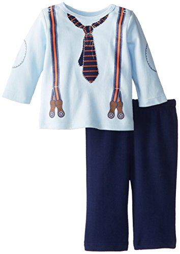 Little Me Baby-Boys Newborn Suspenders Pant Set, Navy Multi, 9 Months front-893882