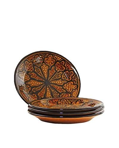 Le Souk Ceramique Honey Set of 4 Side Plates, Honey/Brown