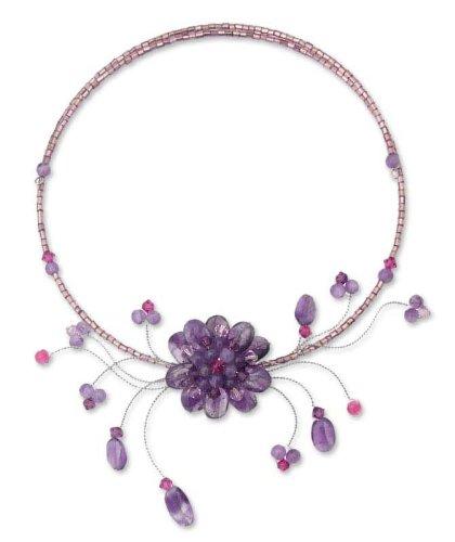 Amethyst flower necklace, 'Violet Bloom' 1.8