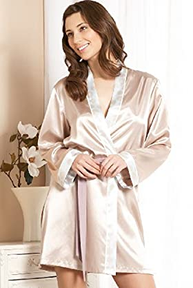 Satin Spot Trim Tie Waist Dressing Gown - Marks & Spencer