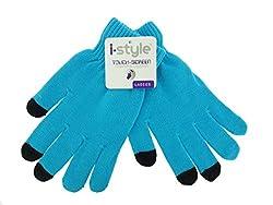 Ladies Neon Touchscreen Stretch Gloves - Black/Blue