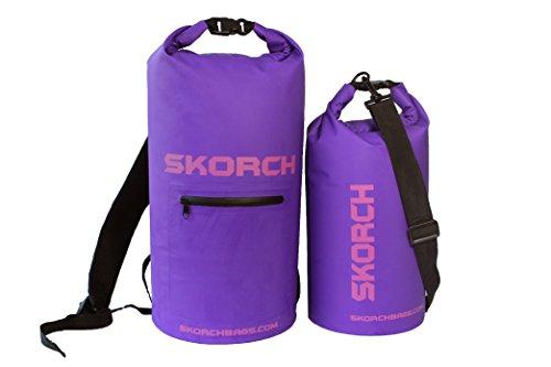 skorch-confezione-da-2-20l-zaino-impermeabile-e-10l-dry-bag-viola-con-logo-rosa-sci-rugby-passeggiat