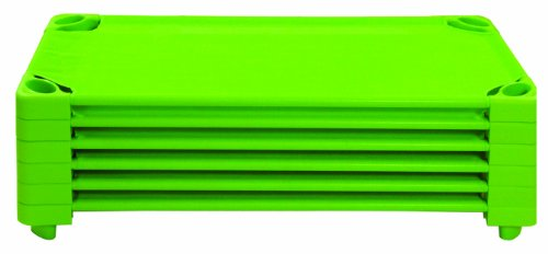 Ecr4Kids Elr-16112-Gn Stackable Ready To Assemble Kiddie Cot, Standard Size, Spring Green, 6-Pack