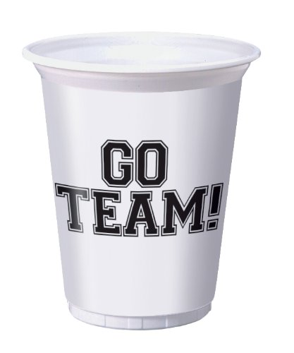 Creative Converting School Spirit Party Supplies Printed 16 Oz. Plastic Cups, Go Team - 1