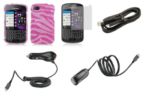 Blackberry Q10 - Premium Accessory Kit - Pink Zebra Stripes Diamond Bling Case + Atom Led Keychain Light + Screen Protector + Wall Charger + Car Charger + Micro Usb Cable