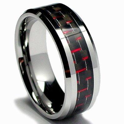 RED & BLACK Carbon Fiber Inlay 8MM Men's Tungsten Carbide Ring Sz 8.0