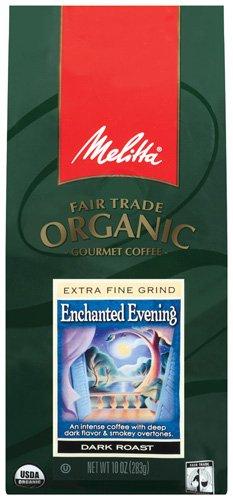 Melitta Fair Trade Organic Coffee, Enchanted Evening Ground, Dark Roast, 10 ounce(Pack of 3)