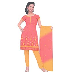 Gilora Fashions Women's Cotton Unstitched Dress Material (GF-114_Orange and yellow)