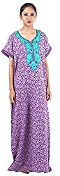 Milan Collection Women's Printed Dressing Gowns & Kimonos (MC-235_40, Purple, Size - 40)