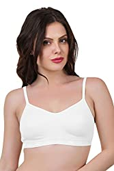 Featherline Sainia Seamless Non Padded Full Cup Cotton Bra(White)